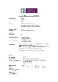 Social Patterns of Disease - Social Sciences - Past Exam