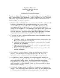 Policy Makers - Economic Demography - Past Exam