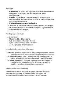 Il gruppo - Appunti di Sociologia Dei Gruppi