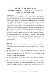 Study of Basmati Rice - Business Law - Study Case
