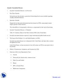 Sexually Transmitted Diseases - Psychiatry of Sex - Handouts