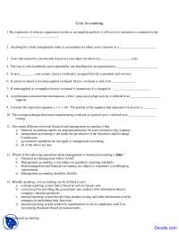 Accumulate or Collect Costs - Cost Accounting - Quiz
