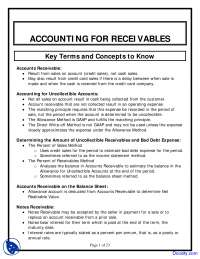 Accounting for Receivables - Financial Accounting - Lecture Notes