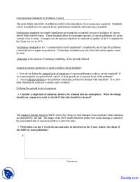 Environmental Standards for Pollution Control - Environmental Economics - Handouts, Lecture notes for Environmental Economics