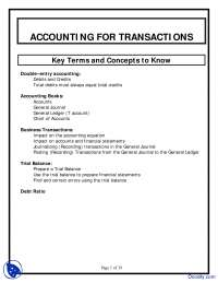 Accounting for Transactions - Financial Accounting - Lecture Notes