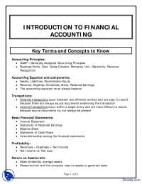 Introduction to Financial Accounting - Financial Accounting - Lecture Notes