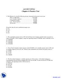 Contribution Margin - Principles of Accounting - Solved Test