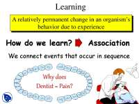 Simple Learning - Fundamentals of Psychology - Lecture Slides