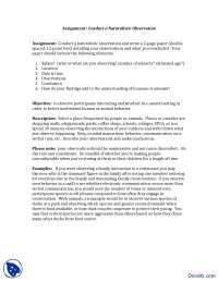 Conduct a Naturalistic Observation - Cognitive Developmental Psychology - Assingment
