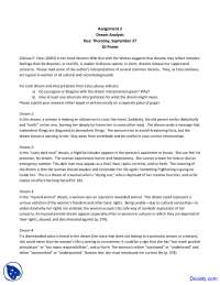 Dream Analysis - Basic Psychology - Assingment