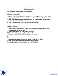 Pre Fermentation - Wine - Quiz