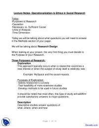 Research Design and Purposes of Research - Introduction to Research Methods - Lecture Notes