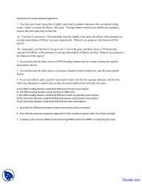 Transcriptional Regulation - Techniques in Molecular Biology - Quiz
