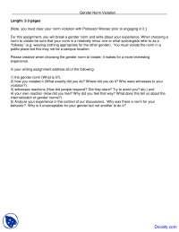 Gender Norm Violation - Women Studies - Assingment
