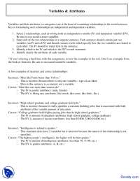 Variables and Attributes - Introduction to Research Methods - Lecture Notes
