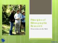 Principles of Ethnographic Research - Applied Anthropology - Lecture Slides