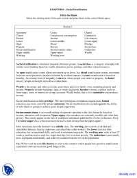 Social Stratification - Sociological Imagination - Solved Quiz