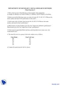 Grand Mean, Measures of Central Tendency - Social Research Method - Exercise