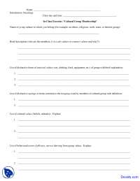 Cultural Group Membership - Introductory Sociology - Quiz