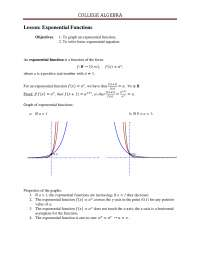 Exponential Functions - Algebra - Lecture Notes