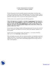 Research Methods - Social Research Methods - Assignment