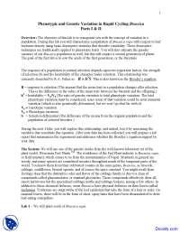 Rapid Cycling Brassica - Evolutionary Biology - Lab Handout