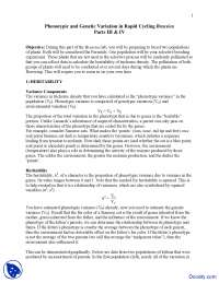 Phenotypic and Genetic Variation - Evolutionary Biology - Lab Handout