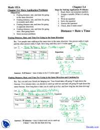 Solutions for Finding Distance, Rate and Time - Intermediate Algebra - Homework Solutions
