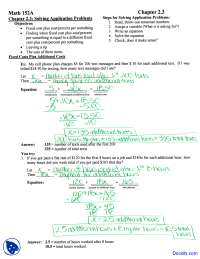 Steps for Solving Application Problems - Intermediate Algebra - Homework Solutions