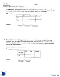 Additional Application Problems - Intermediate Algebra - Homework