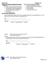 Solving Application Problems - Intermediate Algebra - Homework Solutions