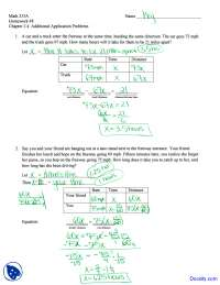 Additional Application Problems - Intermediate Algebra - Homework Solutions