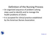 Definition of Nursing Process - Pediatric Nursing - Lecture Slides