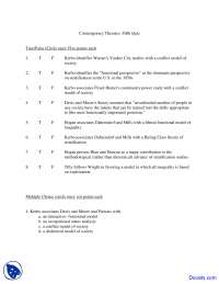 Contemporary Theories - Social Stratification - Quiz