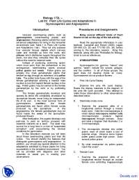 Gymnosperms and Angiosperms - Introduction to Biology - Lab Handout