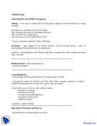 Animal Behavior and Wildlife Management - Wild Life Ecology - Lecture Notes