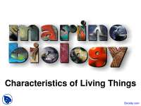 Characteristics of Living Things - Marine Biology - Lecture Slides