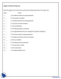Stages in Criminal Trial - Criminal Law - Quiz
