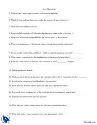 Heart Physiology - Physiology and Anatomy - Quiz