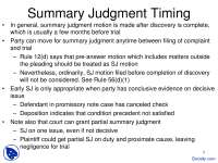 Summary Judgment Timing - Civil Procedure - Lecture Slides