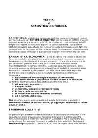 Statistica economica - Tesina - Statistica