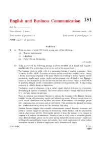Public Private Partnership - English and Business Communication - Exam