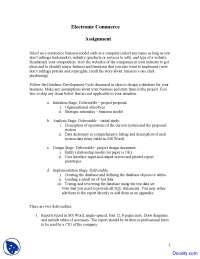 E-Commerce Business Model - Electronic Commerce - Assingment