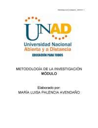 Metodos de investigación - Avendaño - Apuntes - UNAD - Investigación
