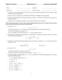 Domain and Range - Calculus of a Single Variable One - Exam
