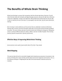 The Benefits of Whole Brain Thinking - Brain - Lecture Handout