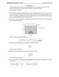 Neglible Weight - Calculus of a Single Variable Two - Exam