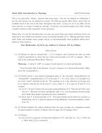 Intention - Introduction to Topology - Exam