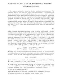 Amount or Exchange - Probability - Exam