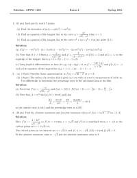 Linear Approximation - Calculus One for Engineers - Exam